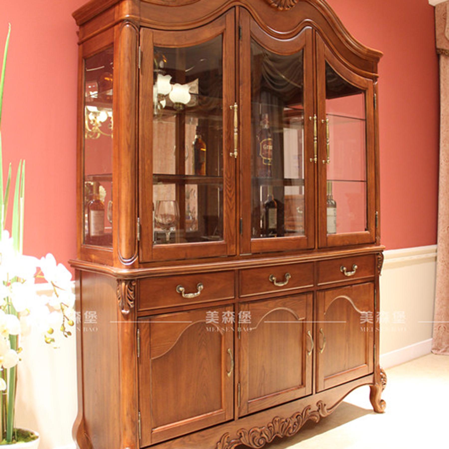 直购家具 美式复古实木酒柜 欧式古典三门酒柜柜