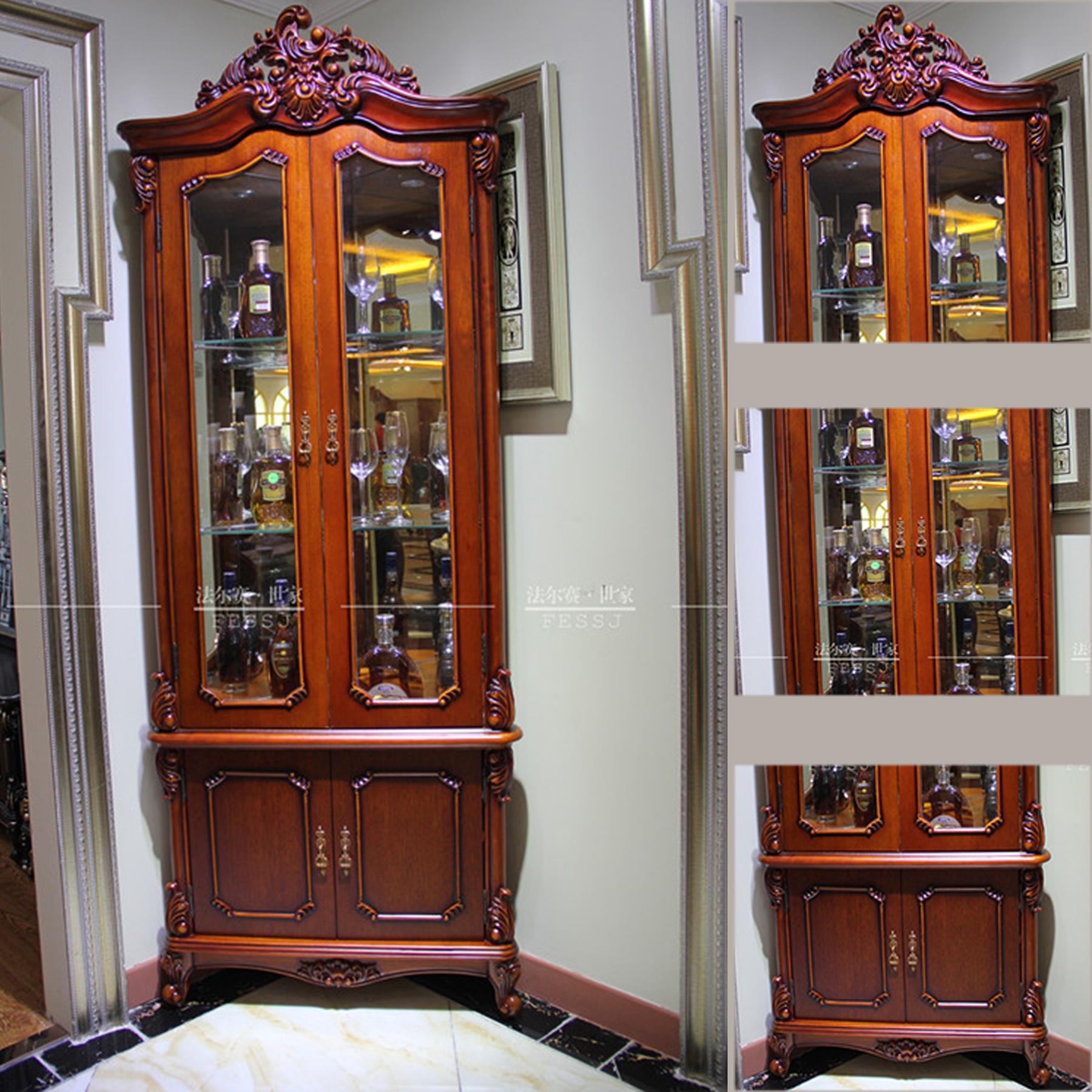 直购家具 欧式实木角柜墙角柜 欧式扇形玻璃酒柜