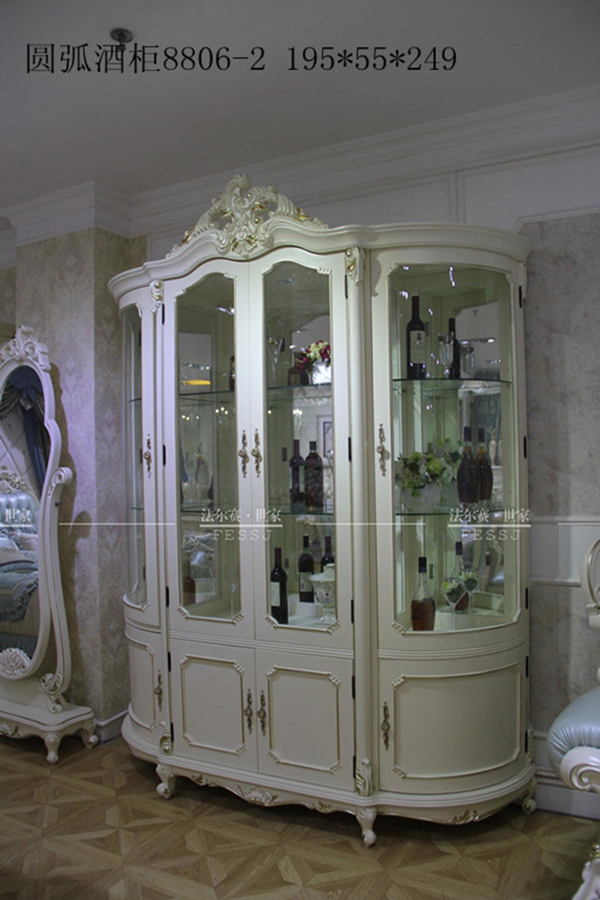 直购家具 古典欧式特色全实木四门圆弧酒柜